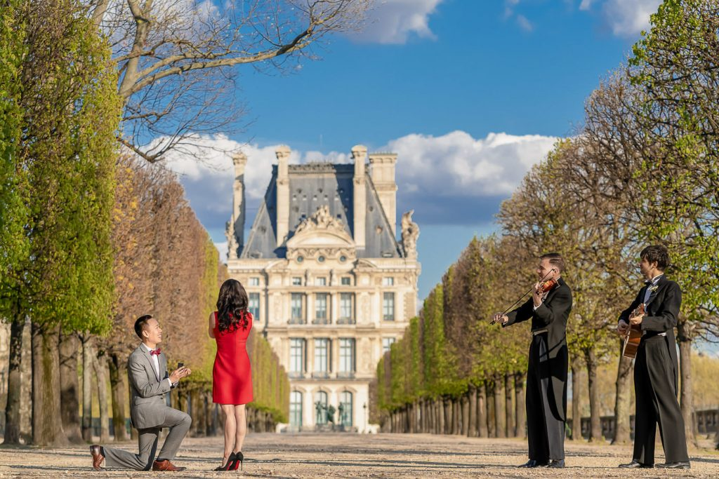 Dream marriage proposal in the Tuileries Gardens in Paris with musicians
