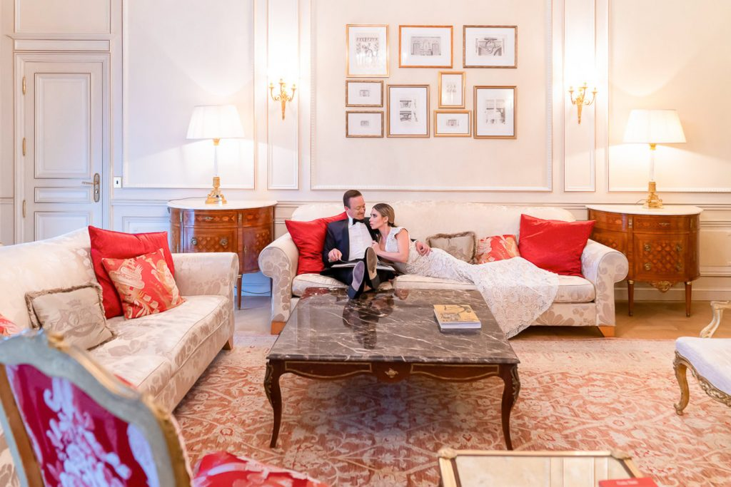 Indoor wedding poses for couples in Paris Le Meurice