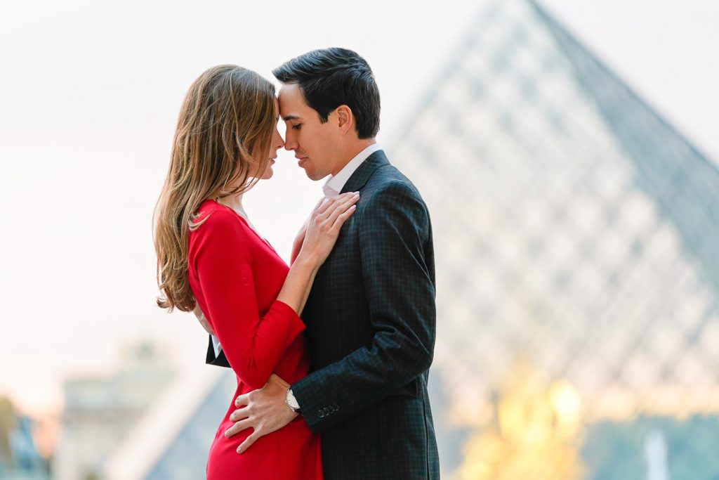 Romantic couple photo at the Louvre Museum during the Golden Hour