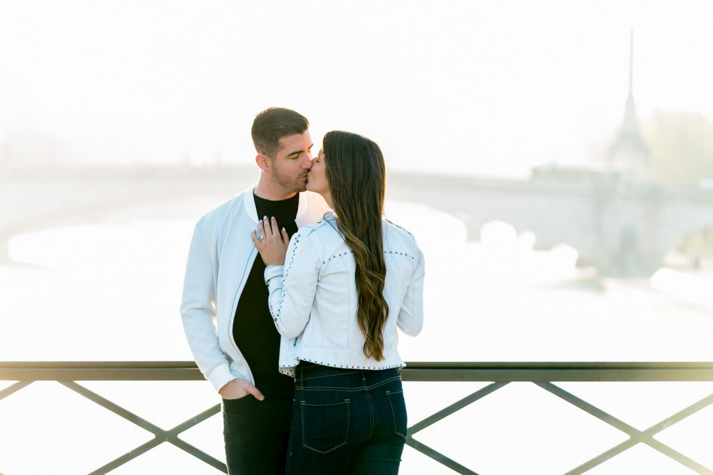Simple poses for couples doing their engagement photos in Paris
