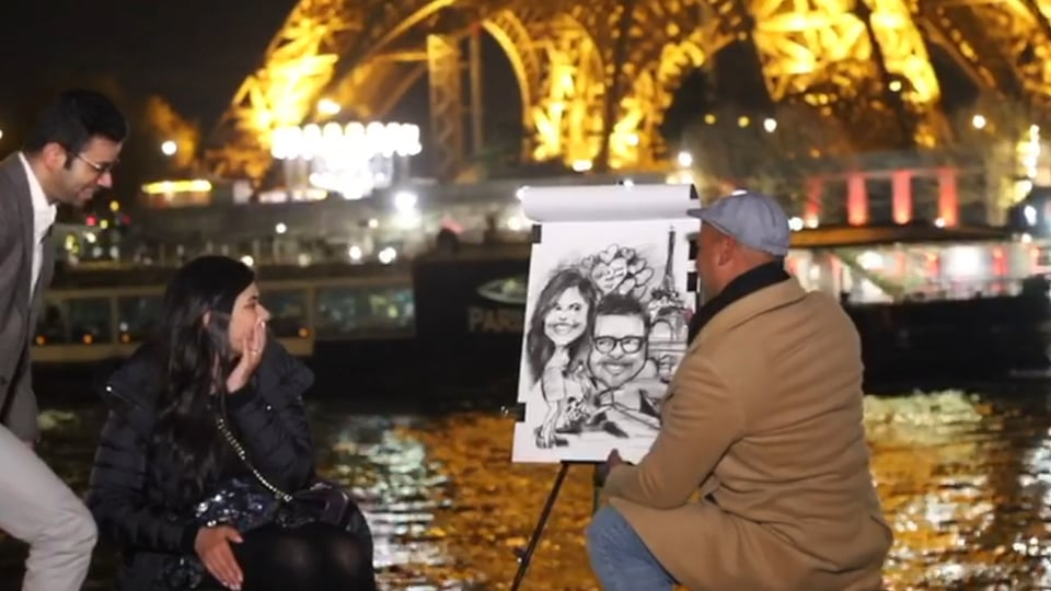 Seriously adorable scavenger hunt culminating in an unforgettably romantic Eiffel Tower proposal at night