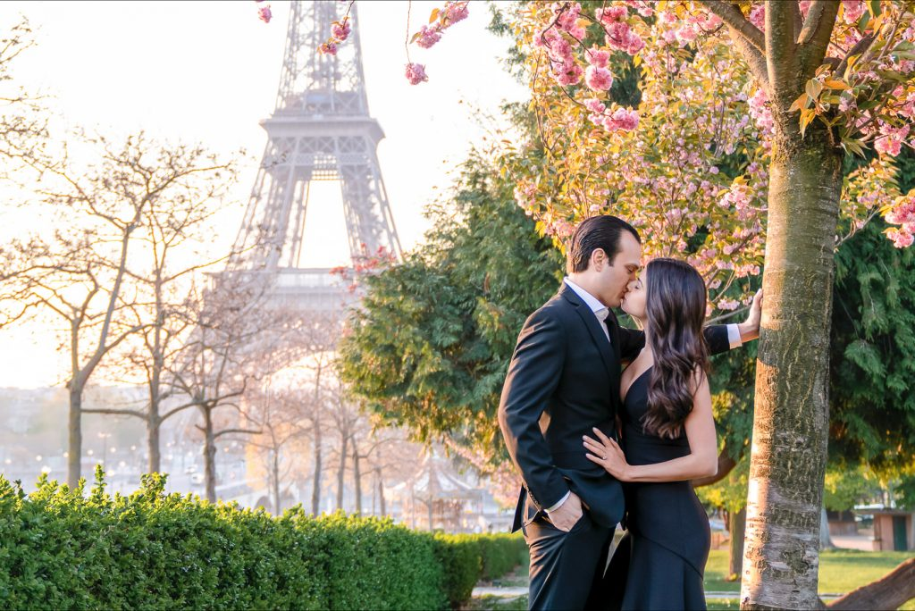 Where are the most romantic places to kiss in Paris Eiffel Tower with Cherry Blossoms